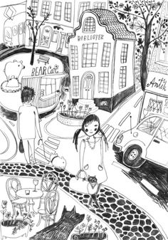 Locals Only – Helsinki Art Print by paperhamster Textile Prints, Art Prints, Textiles, City Scene, Helsinki, Shades Of Grey, Cute Drawings, Line Art, Illustrators