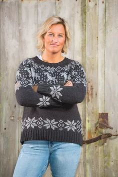 Barfota Trysil strikket genser, mørk grå/lys grå