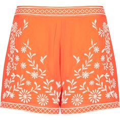 TOPSHOP Trailing Flower Shorts (€12) ❤ liked on Polyvore featuring shorts, bottoms, short, topshop, tangerine, topshop shorts, flower shorts, side zip shorts, rayon shorts and short shorts