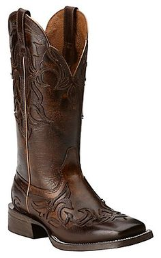 Ariat Women's Cassidy Mahogany with Weathered Buckskin Top Square Toe Western Boot | Cavender's
