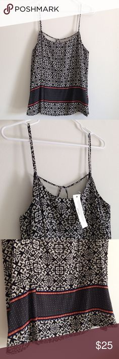 """Boho Tank Top Brand new with tag. Black with cream - orange and navy trims around. Lining under - black. Cute cross string on back as style. 100% rayon. Measurement laying flat: bust: 20"""" length: 25"""" Sans Souci Tops Tank Tops"""