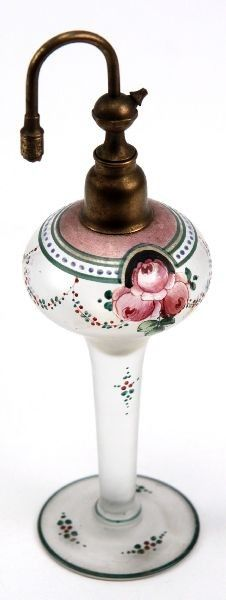 VINTAGE HAND PAINTED GLASS PERFUME ATOMIZER