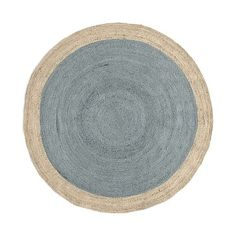 Bordered Round Jute Rug–Special Order #westelm NM- I like the platinum, green and graphite