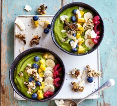 Green Goddess Smoothie Bowl - Halve the fruit but keep the liquid amount the same. Ditch the honey & nut butter, too or the sugar content is too high. Vegan Recipes Videos, Bbc Good Food Recipes, Healthy Recipes, Healthy Fats, Veggie Recipes, Healthy Eating, Avocado Dessert, Smoothie Bowl, Smoothie Recipes