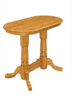 Amish Double Pedestal Pub Table Amish Double Pedestal Pub Table. Country style curves and lots of room to customize. Choose size, height, wood, finish, table edge and more. #DutchCrafters