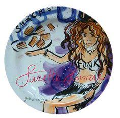 Funky Round Plate handpainted by SuzetteHuwae. *SuzetteHuwae Collection.