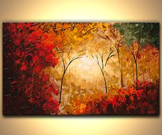 original contemporary abstract landscape blooming trees modern palette knife