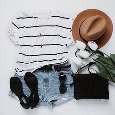 striped top + denim shorts + hat + sandals + bag