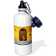 3dRose Gina, a Colombian professional ballet dancer in Cartagena peaking through a wood door, Sports Water Bottle, 21oz