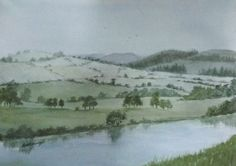 Coquet River, Rothbury. Painted in watercolours by Sharon Douglas. www.sharondouglas.weebly.com