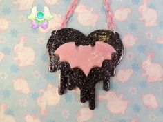 Pastel Goth Drippy Heart Bat Necklace  Black Heart by SammysJewels