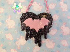 Pastel Goth Drippy Heart Bat Necklace  Black Heart by SammysJewels