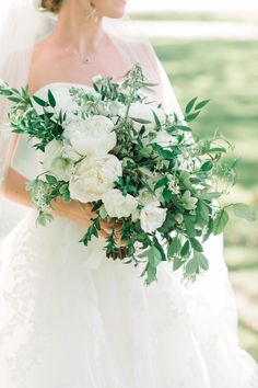 White peonies and greenery