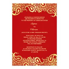 Shop Paisleys Elegant Indian Wedding Flat Invitation created by all_items. Personalize it with photos & text or purchase as is! Paisley Wedding, Red Wedding, Wedding Tips, Elegant Wedding, Floral Wedding, India Wedding, Wedding Venues, Wedding Stuff, Wedding Reception