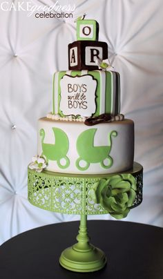Green Brown Pram, Stripes and Blocks Baby Boy Shower Cake Baby Shower Cakes For Boys, Baby Shower Themes, Baby Boy Shower, Baby Shower Decorations, Baby Shower Gifts, Shower Ideas, Cupcake Cakes, Baby Cakes, Cupcakes