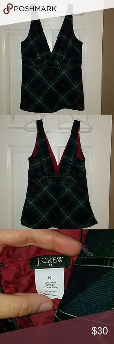 J.Crew, low cut  wool tank Navy blue with green red and white tartan plaid. Great for the holidays J. Crew Tops Tank Tops