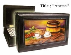 "On Sale! Domino Set double six in leather case w/artwork ""Aroma"" on top.  #ArtworkontopcoverwSuperglazecoattoprotect"