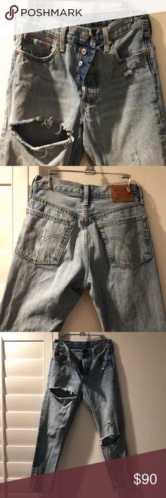 LEVIS 501 vintage Killer distressed vintage Levi's. These pants are worn in perfectly! High waisted! Levi's Jeans Ankle & Cropped