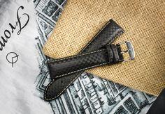 Carbon black leather strap