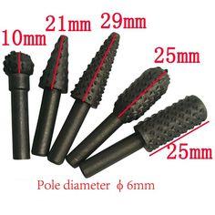5 UNID Perfora Bits de 6mm Herramientas de La Carpintería De Madera de Talla de Madera Juego de Brocas mini micro cortador herramienta de Rotary Burr Para Dremel