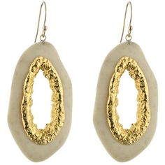 Bold neutral: Alexis Bittar Ivory Coal Resin Earrings with Gold-Plated Metal.