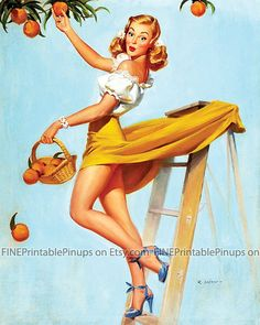 pinup pin up vintage classic old retro illustration drawing painting poster girl woman pretty sexy vargas elvgren art peaches oranges tree orchard picking ladder basket yellow blonde heels artist hair dress 50s 40s 30s 20s 60s 70s 1920 1930 1940 1950 1960 1970 300dpi printable quality public domain creative commons free