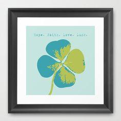 Blue+Clover+Framed+Art+Print+by+Elizabeth+Gleason+-+$34.00