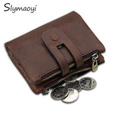 aab7a25e2cde Slymaoyi Genuine Leather Men Wallet Small Men Walet Zipper Hasp Male  Portomonee Short Coin Purse Brand Perse Carteira For Rfid