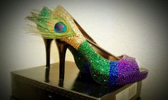 Items similar to Peacock Bling Shoes on Etsy Peacock Shoes, Mardi Gras Beads, Bling Shoes, Pretty Shoes, Wedding Shoes, Me Too Shoes, Shoe Boots, My Style, Etsy