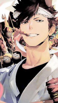 Tetsurou Kuroo eating with bird Hinata, Tsukishima and Kageyama Kuroo Haikyuu, Kuroo Tetsurou, Haikyuu Fanart, Haikyuu Anime, Tsukishima Kei, Hinata Shouyou, Cool Animes, Manga Anime, Anime Art