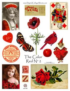 free collage sheet in reds