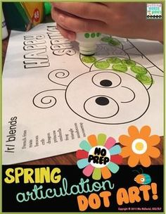 Spring Dot Art {No Prep!} All sounds included! Make a Spring articulation masterpiece and get tons of productions at the same time!