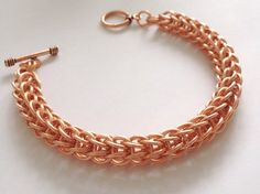 Mens Chunky Bracelet, Pure Copper Chainmail, Mens Persian Chainmaille, Mens Jewellery, Gift for him, Large Bracelet Cuff, Anniversary Gift, by JCLeecollection on Etsy