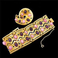 Vintage Boucher Pink and Purple Bracelet and Pin Set