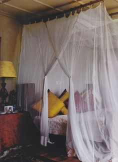 We want to get a Canopy Bed just like the one shown in the movie Ever After, the one that the King and Queen slept in. We want those super thick, velvet drapes so they block out the light when closed. (He works nights)