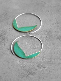Verdigris Curvy Hoops brass earrings sterling silver by alibli