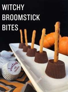 Witchy Broomstick Bites- Easy Halloween treat made with Justin's Organic Mini Peanut Butters Cups and gluten-free pretzel sticks.