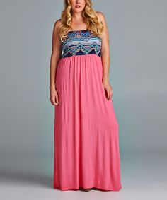 This Pink Geometric Empire Waist Maxi Dress - Plus is perfect! #zulilyfinds