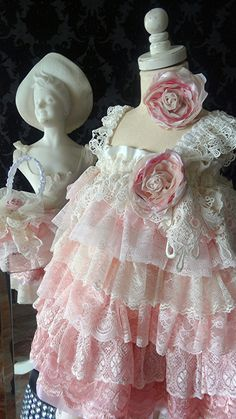 Shades of pink Ivory Flower girl vintage lace dress by Babybonbons