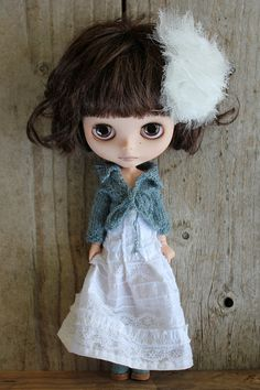 White Skirt/Dress by Abi Monroe, via Flickr    Fab Boho look with cardi by Donna Cooper at Cooperdolls