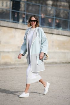 84 Outfit Ideas For Style Extroverts #refinery29  http://www.refinery29.com/2015/03/83675/paris-fashion-week-2015-street-style#slide-47  Mix your washed-out pastels with bright, clean whites like Candela Novembre does.Iceberg coat, Vionet dress, Marni bag, Santoni shoes.