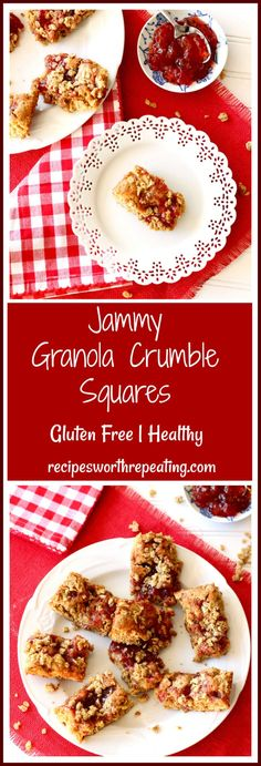 These little Jammy Granola Crumble Squares are delish, gluten free and perfect for breakfast or a snack! The Banana Nut Granola paired with the cinnamon, strawberry jam and banana take the taste of these squares to the next level! Jam filled with every bite, these are the perfect snack for a road trip or after a sporting event! #glutenfree #granola #jam #strawberry #bars #squares #snack #breakfast | recipesworthrepeating.com