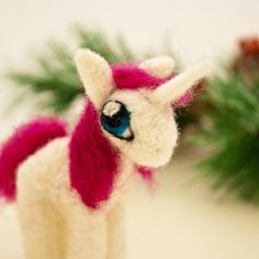 Needle felted Unicorn figurine Unicorn ornament by CraftsByKeri, $30.00 ~ I'm getting a My Little Pony vibe!
