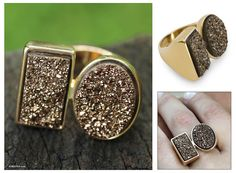 Modern Gold Plated Drusy Cocktail Ring - Amazon Duality | NOVICA
