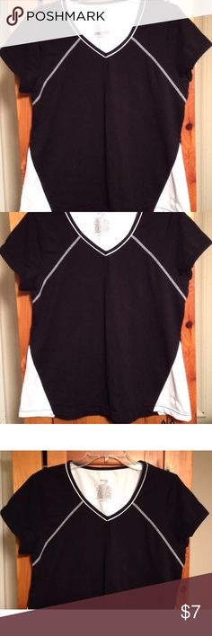 "DANSKIN NOW ATHLETIC TOP Women's XL SUPER CUTE excellent condition black with white trim athletic top by DANSKIN NOW! Size women's XL. Chest: 19.75"" lying flat pit to pit Length: 24.5"" Material: BODY: 57% cotton, 38% polyester and 5% spandex, MESH INSET: 92% polyester, 8% spandex Danskin Now Tops Muscle Tees"