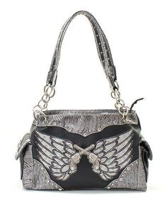 Bling Pistols Wings Gray Concealed Carry Purse