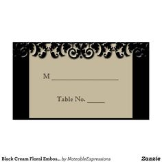 Black Cream Floral Embossed Wedding Place Cards