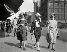 One in a series showing spring fashions at Easter. This trio is going places with a camera and a banjo. Harris & Ewing Collection glass negative, Washington DC, 1922