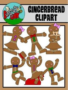 Gingerbread / Christmas / Winter Holiday Clip art - Graphic  Included are 6 Color, 6 Grayscale, and 6 Black Lined, PNG/Transparent Clipart.  18 Items Total.    $