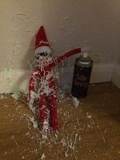 Elf on the shelf ideas. Silly string